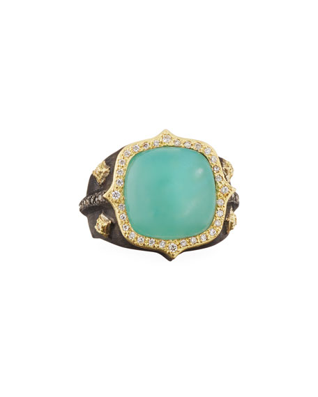 Armenta 18k Old World Aquaprase & Diamond Ring
