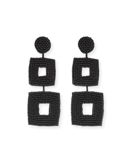 Double Square Seed Bead Drop Earrings, Black