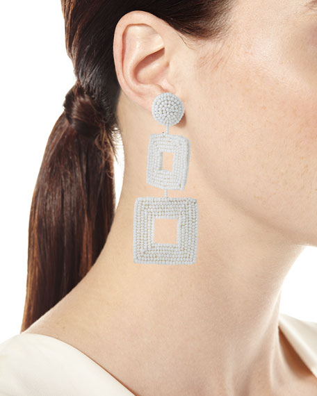 Double Square Seed Bead Drop Earrings, White