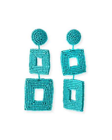 Double Square Seed Bead Drop Earrings, Turquoise