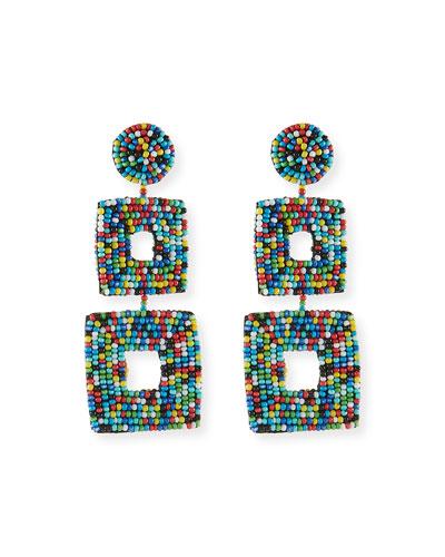 Double Square Seed Bead Drop Earrings, Light Multi