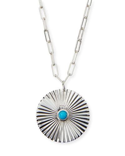 Iris Silver Turquoise Pendant Necklace