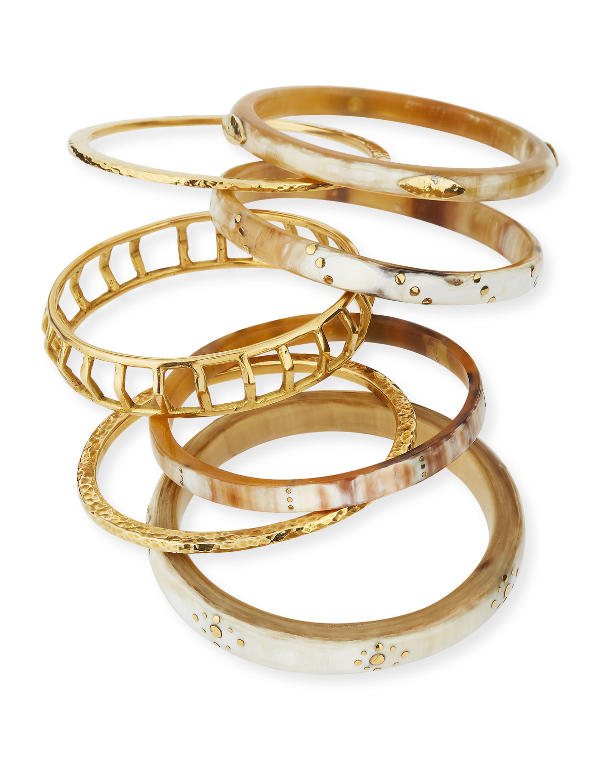 Ashley Pittman Almasi Light Horn Stacking Bangles, Set of 7