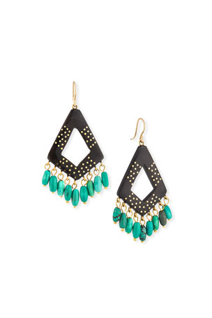 Ashley Pittman Mashua Dark Horn Dangle Earrings w/ Turquoise