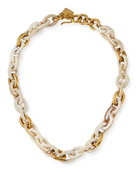 Meli Short Collar Necklace in Light Horn