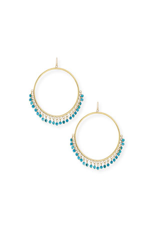 Ashley Pittman Mnara Bronze Hoop Earrings w/ Turquoise Dangles