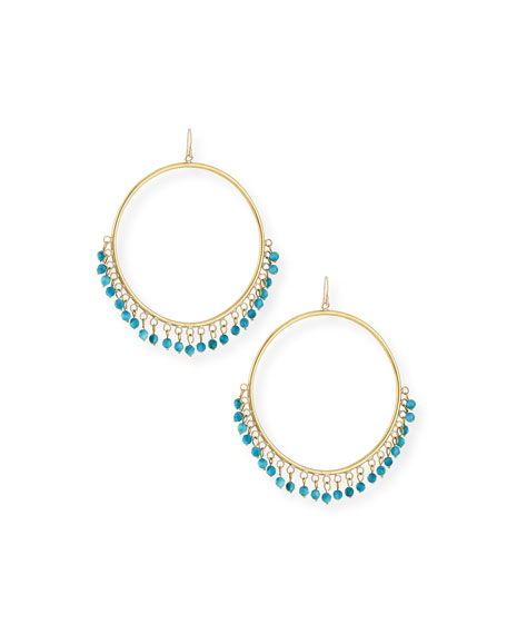 Ashley Pittman Mnara Bronze Hoop Earrings w/ Turquoise