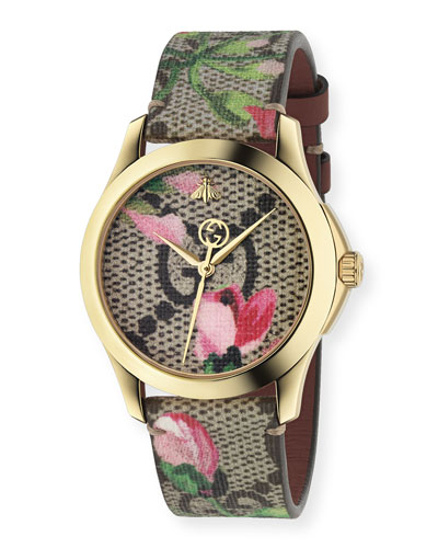38mm G-Timeless Watch w/ GG Supreme Canvas Strap