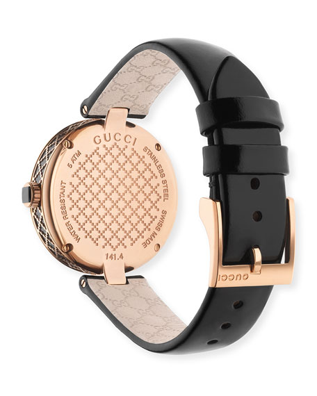 32mm Diamantissima Watch with Leather Strap, Black/Rose