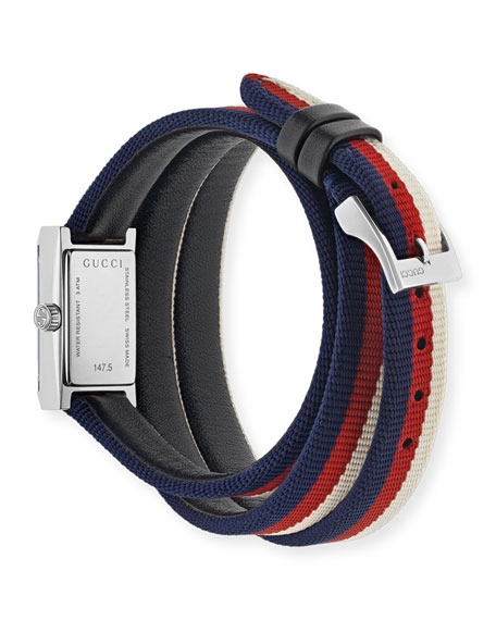 G-Frame Rectangle Double-Wrap Web Watch