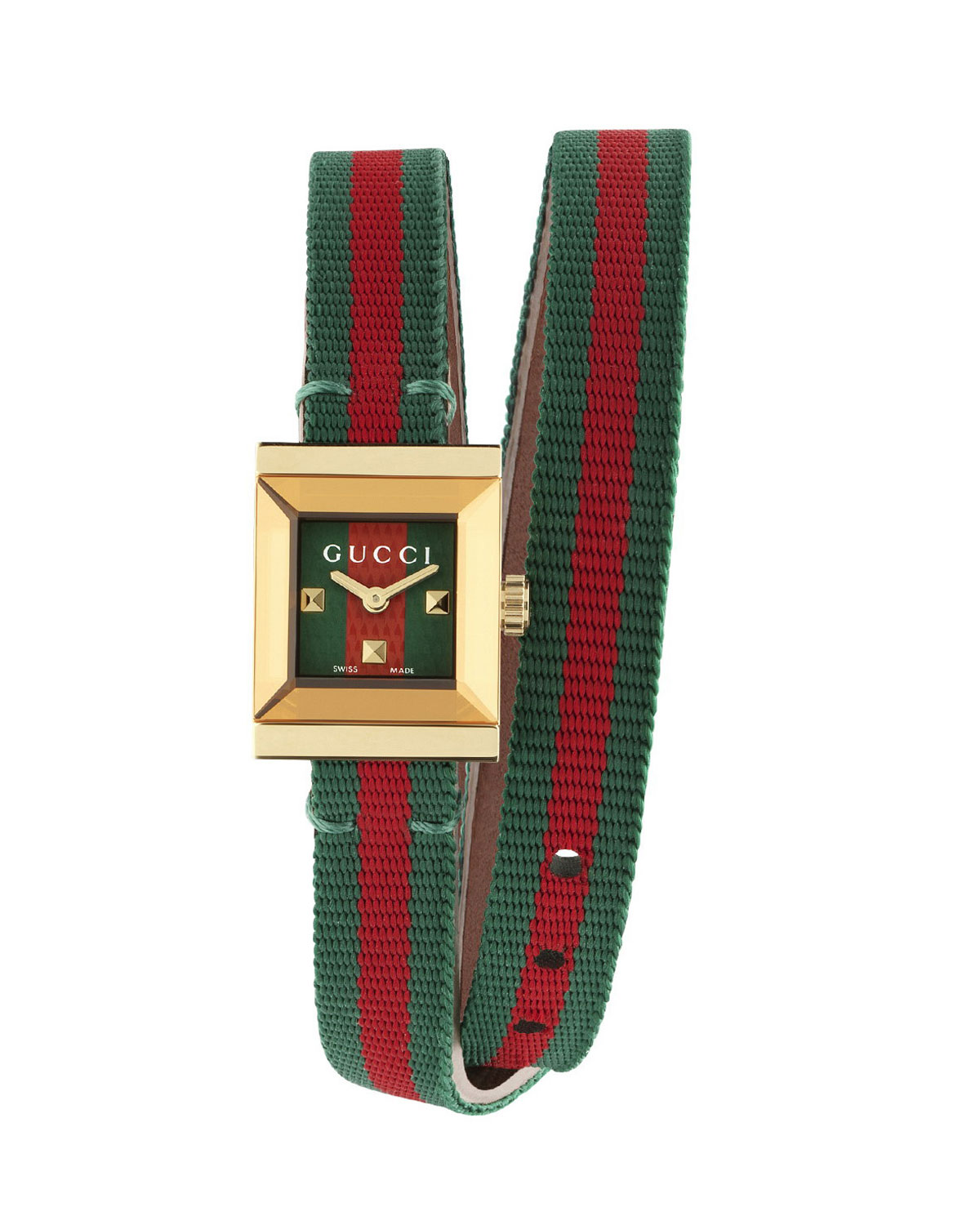 decb5cf4d45 Gucci G-Frame Square Double-Wrap Web Watch