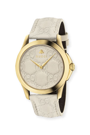 Gucci 38mm G-Timeless Watch with Debossed Leather Strap