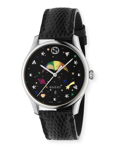 Gucci 36mm G-Timeless Moonphase Watch, Rainbow