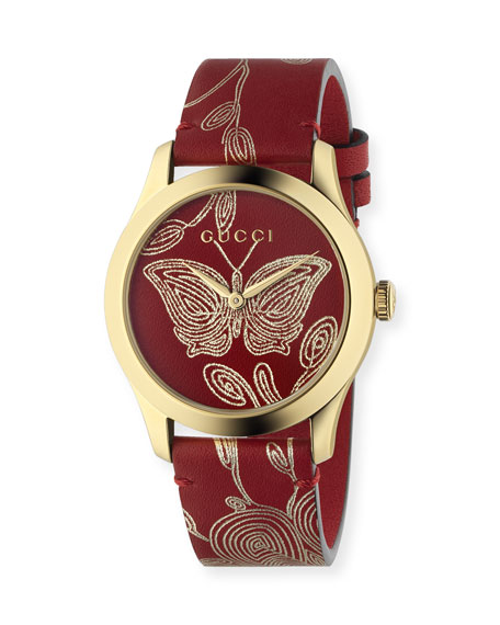 G-Timeless Embroidered Butterfly Watch w/ Leather Strap