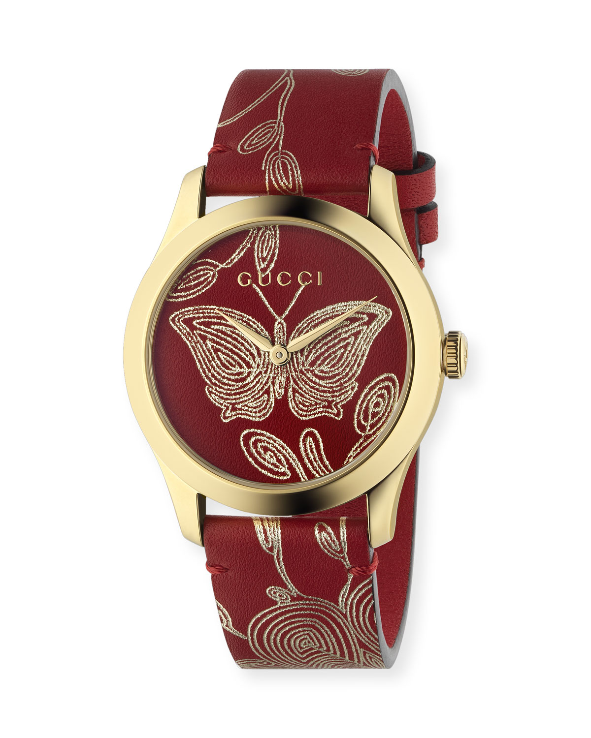 f05674616a5 Gucci G-Timeless Embroidered Butterfly Watch w  Leather Strap ...