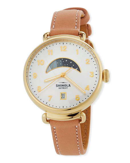 Shinola 38mm Canfield Day/Night Leather Watch