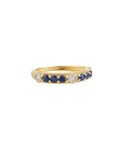 Lisse 18k Gold, Diamond & Sapphire Ring, Size 6.5