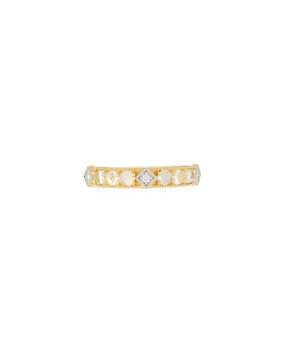 Lisse Moonstone & Diamond Band Ring in 18k Yellow Gold