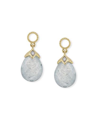 18k Lisse Pear Briolette Earring Charms, Labradorite/Blue Topaz