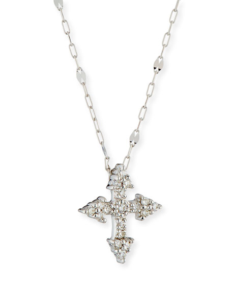 Provence 18k White Gold Diamond Tiny Cross Pendant Necklace