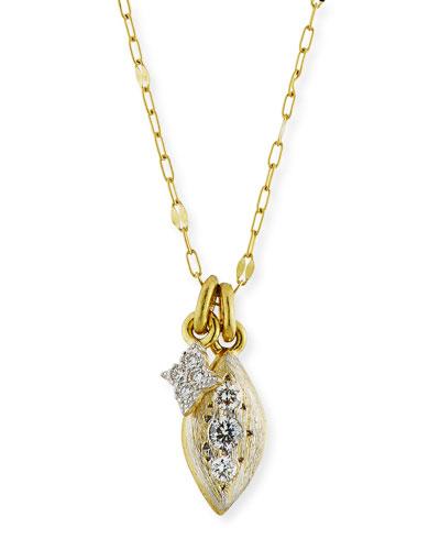18k Moroccan Double Diamond Pendant Necklace
