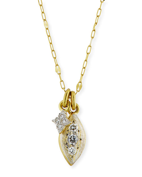 JUDE FRANCES 18K Moroccan Double Diamond Pendant Necklace in Gold