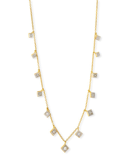 18k Lisse Dancing Diamond Necklace, Yellow Gold