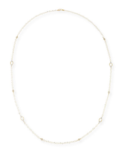 18k Provence Alternating Marquise Delicate Loopy Chain Necklace, 34