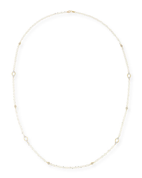 18k Provence Alternating Marquise Delicate Loopy Chain Necklace, 34""