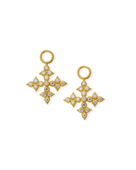 18k Moroccan Diamond Maltese Cross Earring Charms