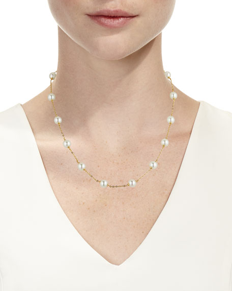 8mm White Pearl Chain Necklace