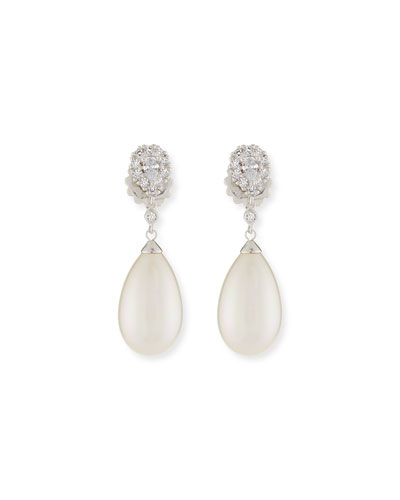 Pearly Pear & Cubic Zirconia Drop Earrings