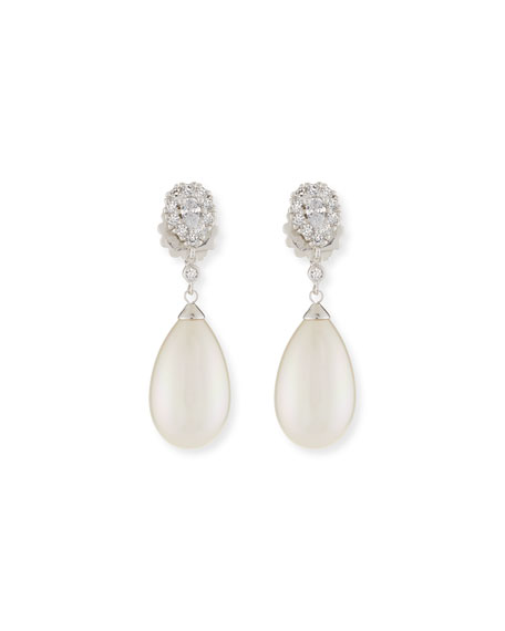 Majorica Pearly Pear & Cubic Zirconia Drop Earrings