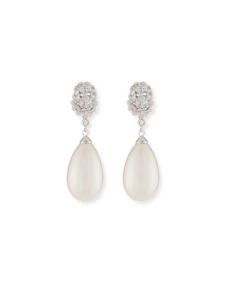 Pearly Pear & Cubic Zirconia Drop Earrings
