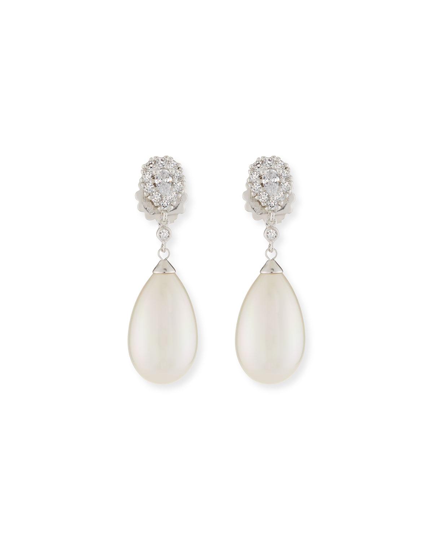 Pearly Pear Cubic Zirconia Drop Earrings