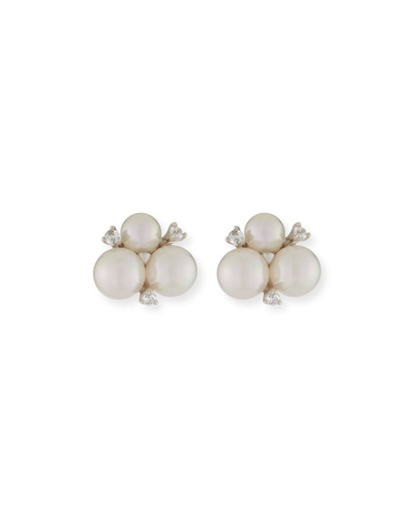 Majorica Pearly & Crystal Cluster Stud Earrings