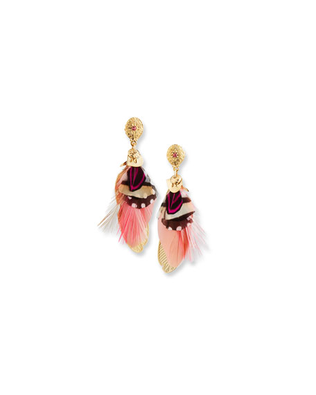 Gas Bijoux Sao Feather Drop Earrings