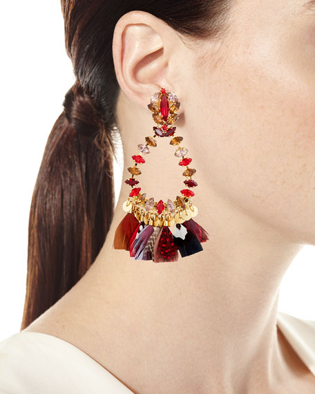 Bo Riviera Plume Feather Drop Earrings