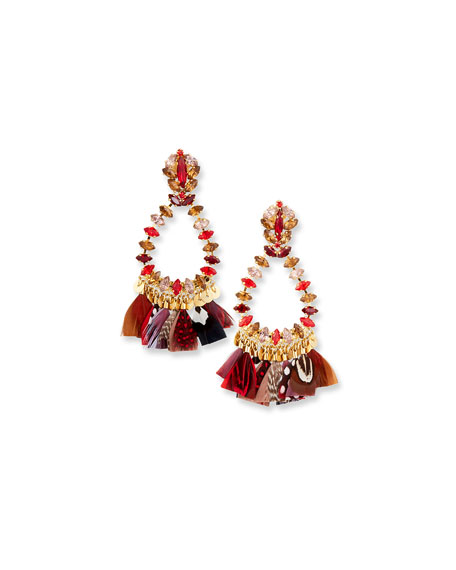 Gas Bijoux Bo Riviera Plume Feather Drop Earrings