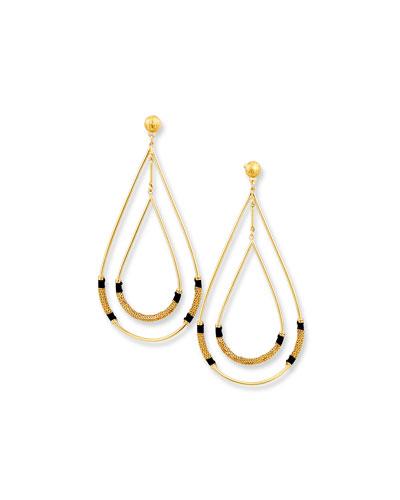 Zanzibar Double Teardrop Earring, Black/Gold