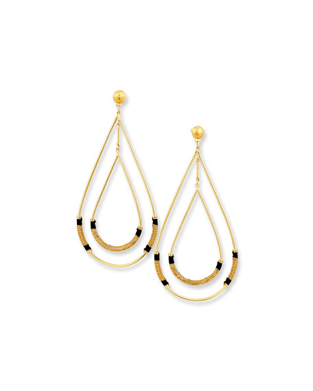 Zanzibar Double Teardrop Earring, Black/Gold