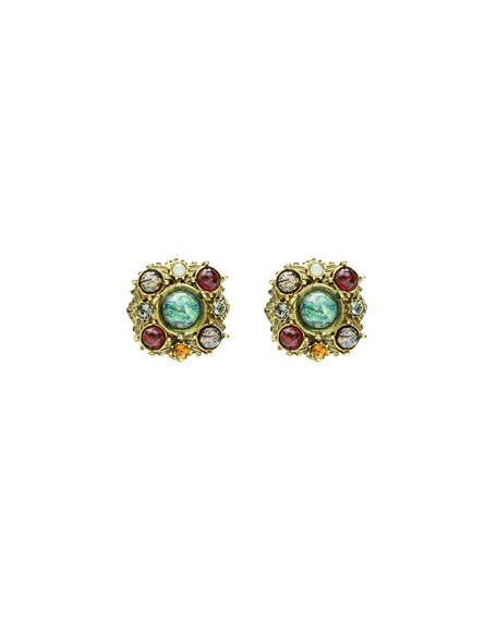 Multicolor Round Clip-On Stud Earrings