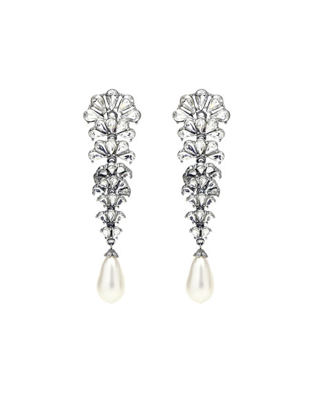 Crystal Fan Earrings w/ Pearly Teardrop