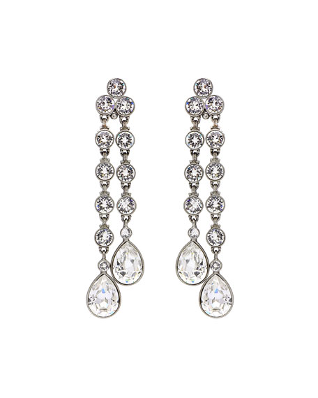 Ben Amun Double Teardrop Crystal Dangle Clip Earrings Silver