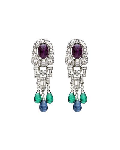 Triple Dangle Crystal Earrings