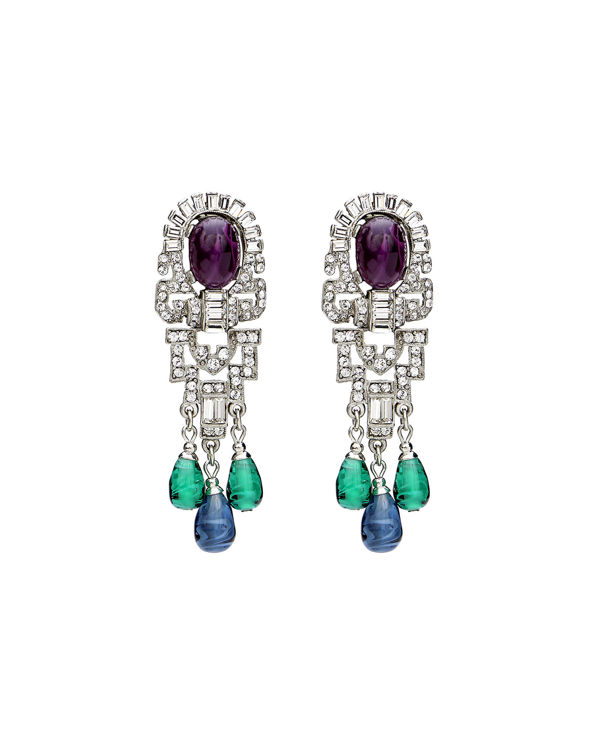 Ben-Amun Triple Dangle Crystal Earrings XAY1Liuz