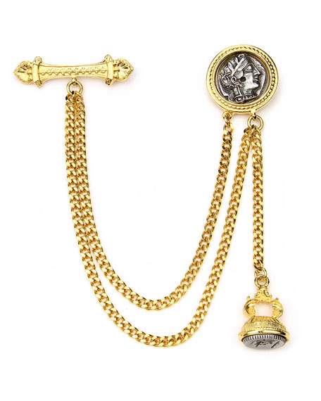 Double Chain Coin Brooch