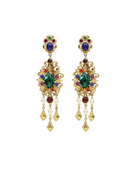 Multicolor Clip-On Drop Earrings