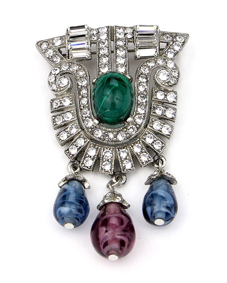 Crystal Multi-Drop Brooch