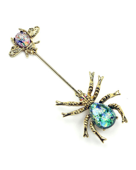 Crystal Spider & Insect Pin in Multi